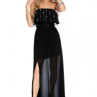 Sexy Black Strapless Beaded Sheer Leg Slit Casual Maxi Dress