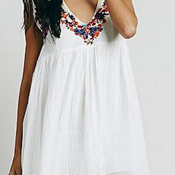 White V-Neck Floral Embroidery Mini Dress