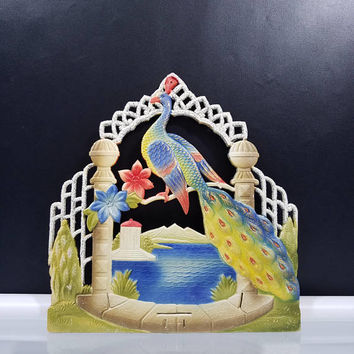 German Die Cut Peacock Calendar Topper Late 1940s Vintage Kitsch Marked Numbered Kitschy Plague Sign