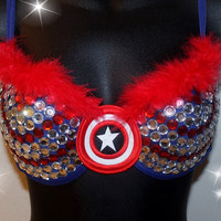 Captain America Inspired Rave Bra 34B