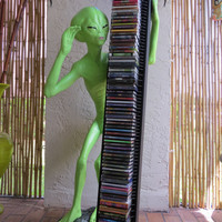 One of a Kind Alien Life-sized Statue - GoaAlien CD-Rack with Psytrance Collection