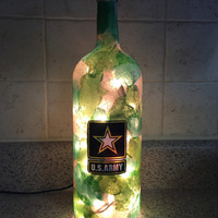 US Army wine bottle lamp, Military gift, Camoflauge lamp, nightlight, Father's Day gift