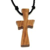 Cross Necklace Men, Mens Cross Jewelry, Minimalist Cross Necklace, Mens Cross Necklace Pendant, Holy Land Olive Wood, Bethlehem Olive Cross