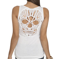 Skull Crochet Back Tank | Shop Tops at Wet Seal