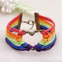 """2016 Pulsera Gay Pride multicolor """"PRIDE""""leather bracelets Hot COLOR jewelry Lesbian LGBT bracelets for Men and Women collares"""