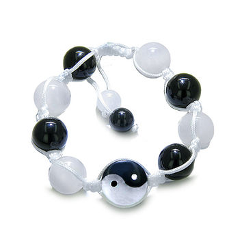 Amulet Yin Yang Balance Powers White Quartz Black Agate Gemstones Positive Bracelet