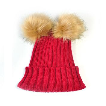 Warm Double Fur Ball Decoration Warm Knitted Curling Cap Beanie Hat for Women Men Children Leisure