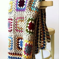 Colorful Afghan Blanket, Throw, Home Decor