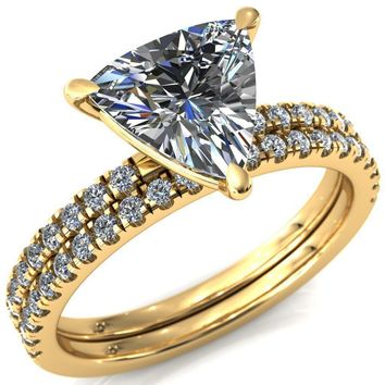 Alessandra Trillion Moissanite 3 Claw Prong Diamond Accent Engagement Ring