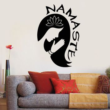 Vinyl Wall Decal Yoga Girl Namaste Lotus Flower Meditation Room Stickers Unique Gift (2045ig)