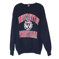 Vintage 90s  University of Pennsylvania UPenn Navy Blue Crewneck Sweatshirt | Adult Size Extra Large XL |