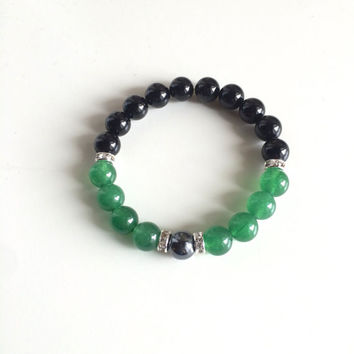 The Heart Chakra - Genuine Black Onyx, Hematite & Green Aventurine - Positive Energy