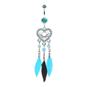 Blue Glam Heart Dream Catcher Feathered Belly Button Ring Navel Ring