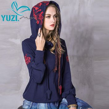 Women Hoodies Casual New Cotton Sweatshirt Long Sleeve Floral Embroidery Skin Friendly Loose Hoodie Shirts