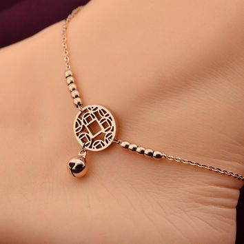 Women Fashion Body Jewelry 316L Titanium Steel Lucky Coins Bell Anklet Rose Gold Foot Chain Anklet  Summer Accessories
