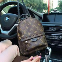 LV Louis Vuitton Leather Travel Bookbag Shoulder Bag Backpack