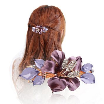 South Korea Horsetail Headwear Flower Crystal Hair Clip Luxury Austria Rhinestone Hairpins Girl Fashion Barrettes Hair Accessory