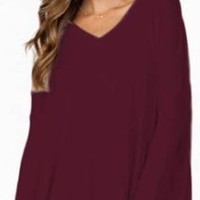 Burgundy Wine Long Dolman Sleeve V Neck Piko Bamboo Loose Tunic Top