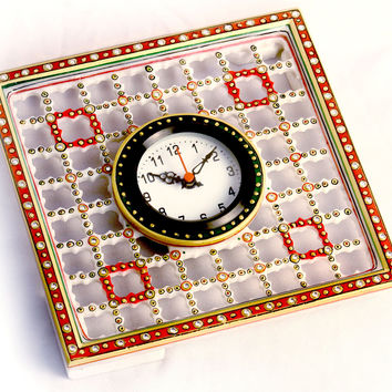 Aakashi Multi Color Square Cage Clock