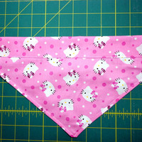 Pet Dog Bandana Over the Collar Pink White Hello Kitty Small Medium Handmade Double Layer Cotton