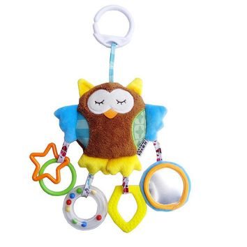 Infanty Crib Mobile Hanging soft Stuffed plush toys Cute Owl Elephant Bear Rattles with teether for baby