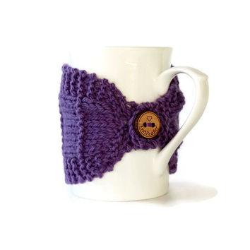 Knitted Mug Cozy - Mug Cozy - Coffee Cup Cozy - Mug Sleeve - Tea Mug Cozy - Mug Jacket - Hot Drink Cozy - Violet Cozy - Purple Mug Cozy