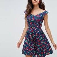 Hell Bunny Cherry Print Mini Skater Dress at asos.com