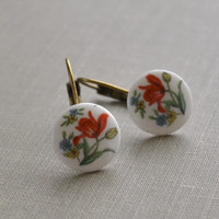 Red Tulip Earrings, Floral Earrings, Flower Cabochon, Porcelain Flower, Antiqued Brass, Lever Back Earrings, Petite and Dainty