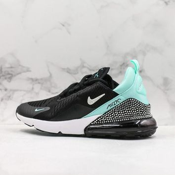 Nike Air Max 270 Black White Green Crystal Running Shoes