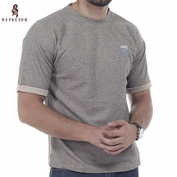 Male Short Sleeve Cotton Solid O-Neck Slim Men T-Shirt Tops
