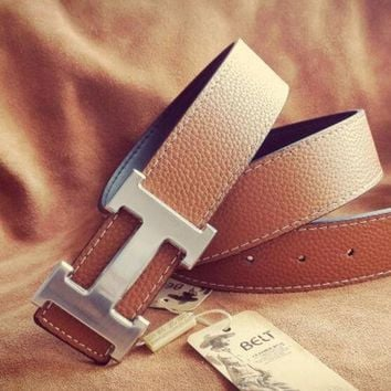 Hermes Belt casual H leather Smooth buckle belt