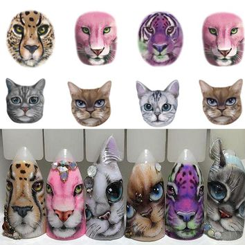 1 Sheets Nail Sticker Sexy Designs Anger Cat/Tiger/Leopard Slides for Water Transfer Temporary Tattoo Nail Decor Polish CHSTZ501