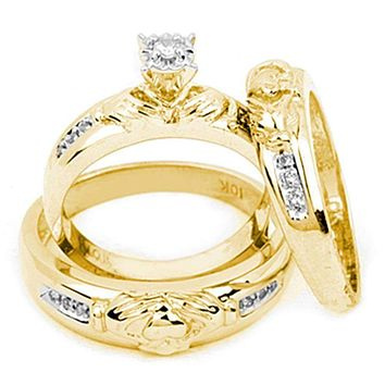 10k Gold Diamond Matching Claddagh His & Hers Trio Wedding Ring Set - FREE Shipping (US/CA)