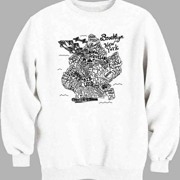 Illustrated Brooklyn Neighborhood Map Sweater for Mens Sweater and Womens Sweater *