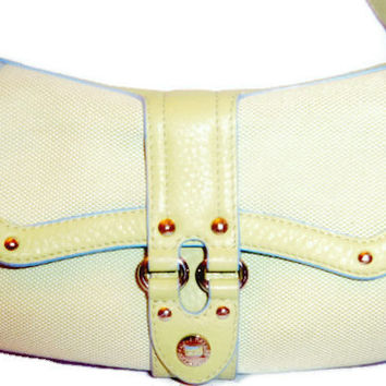 Authentic Vintage Cole Haan Small Hobo Purse - Cream, Green and Blue Leather Trim - was 38.00 - NOW 30.00