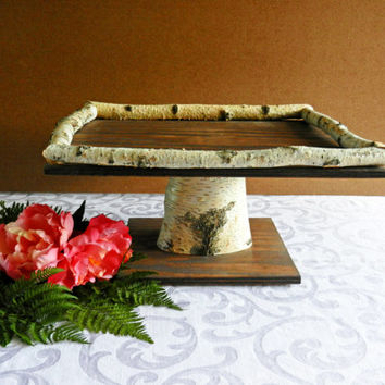 """Wedding Cake Wood Square 16"""" Cake Stand with Birch Frame, Rustic Cake Stand, Wedding"""