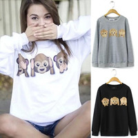 Womens Monkey Emoji Printed Long Sleeve Pullover Shirt Tops Blouse(Size:S,M,L,XL)
