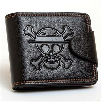 Men Boys One Piece Luffy Wallet Monkey D Luffy Straw Hat Pirates Anime Skull Wallet Purse Black PU Leather