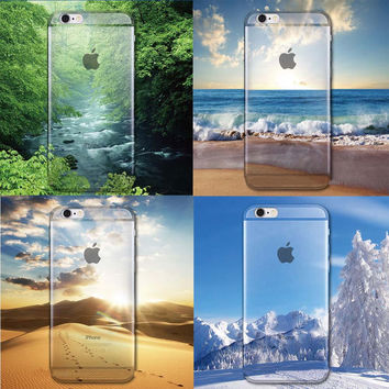 """Ultra Thin Soft Silicon Phone Cases Cover For iphone 6 4.7""""/ Plus 5.5"""" Mountain Landscape phone shell Protector back Cover Case"""
