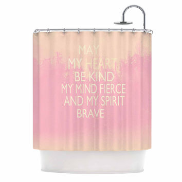 """Suzanne Carter """"Kind-pink"""" White Typography Shower Curtain"""