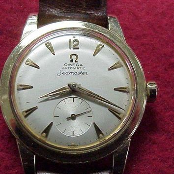 ONETOW Vintage 'Omega Seamaster' Mens Automatic~ 14K GF Wrist Watch ~1956 ~ RUNS~NICE!!