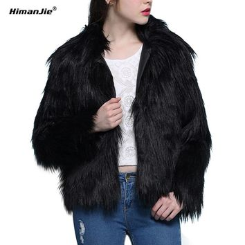 Himanjie Women Winter Faux Fur Coats Jackets Pink Black Fur Coat Jackets Women Thicken Warm Fake Fur Outerwear long hair 2 color