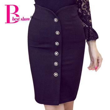 Plus Size Women Office Skirts 5XL Fashion Knee Length High Waist Women Bodycon Pencil Skirt Single Breasted Open Slit Ol Skirt