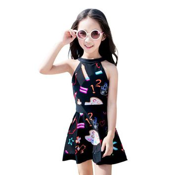 Summer Beach Children's Swimsuit Funny Pattern Printed Halter Sweet Black Two Piece Bathing Suit Girls' Soft Breathable Swimwear