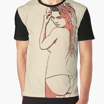 'Erotic nude, perfect redhead girl posing topless' Graphic T-Shirt by sexyjustsexy