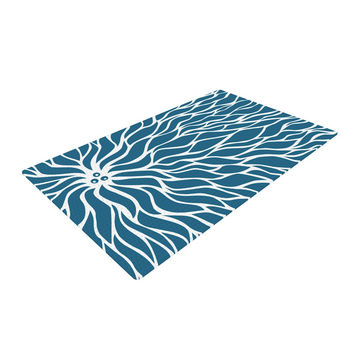 "NL Designs ""Swirls Teal"" Blue Teal Woven Area Rug"