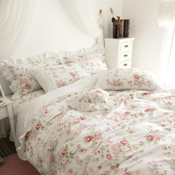 100%Cotton White Pink Floral Girls Princess Bedding Set Twin Queen King size Duvet cover Bedsheet set Bedskirt linen Pillowcase