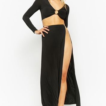 O-Ring Crop Top & Maxi Skirt Set