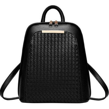 Karena Woven Pu Leather Backpack
