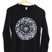 Zodiac Wheel Women's Graphic Black Long Sleeve Tee